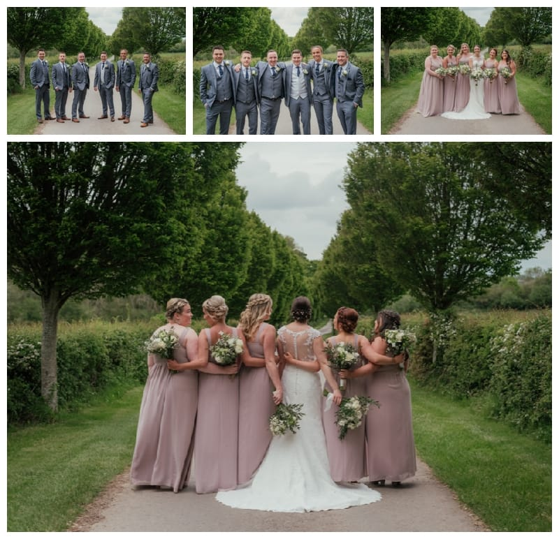 Bridesmaids and Groomsmen Merriscourt Cotswolds Wedding