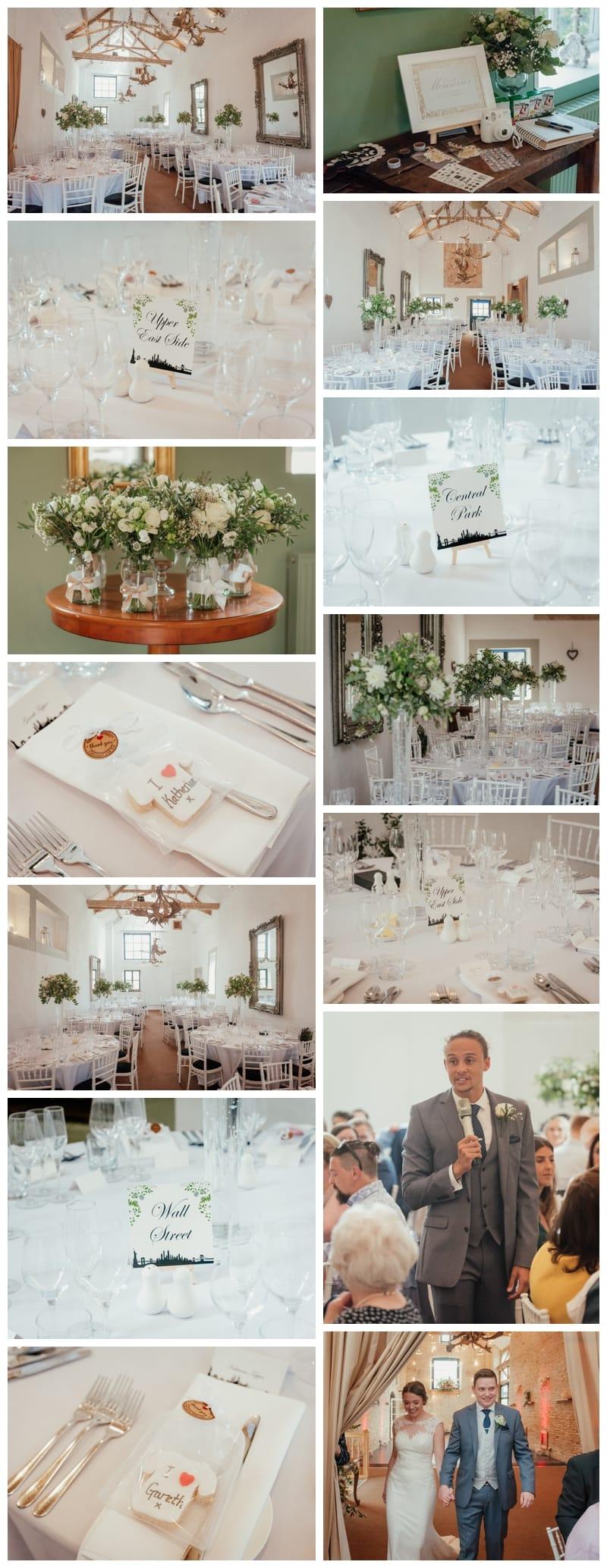 The White Barn Wedding Breakfast Set Up